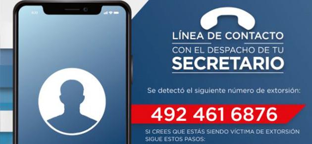 Zacatecas, Zac.- La secretaria de Seguridad Pública, advierte sobre este número del cual realizan llamadas de extorsión