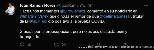 FALSO QUE DELFINA GÓMEZ TENGA EL VIRUS DEL COVID: JUAN RAMÓN FLORES